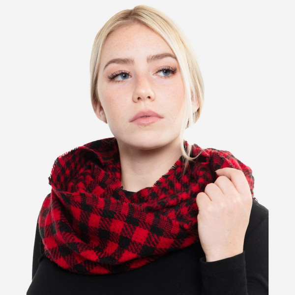 "Buffalo Check Infinity Scarf.  - One size fits most  - Approximately 19"" W x 33"" L - 100% Polyester"