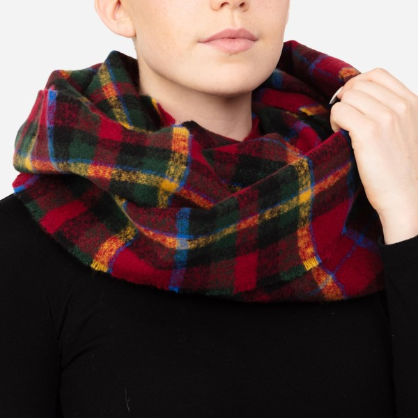 """Women's Plaid Infinity Scarf.  - Approximately 19"""" W x 34"""" L - 100% Polyester"""