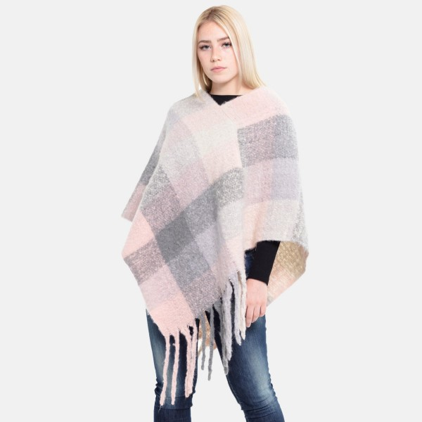 """Women's Fuzzy Knit Plaid Print Fringe Tassel Poncho.  - One size fits most 0-14 - Approximately 35"""" L - 100% Polyester"""