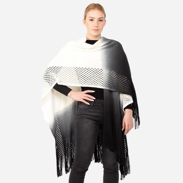 "Women's Ombre Open Knit Ruana/Wrap Featuring Fringe Tassels.  - One size fits most 0-14 - Approximately 37"" L - 100% Acrylic"