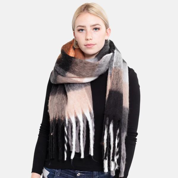 """Oversized Fuzzy Knit Plaid Oblong Scarf with Fringe Tassels.  - Approximately 15"""" W x 70"""" L + Fringe: 8"""" - 100% Acrylic"""