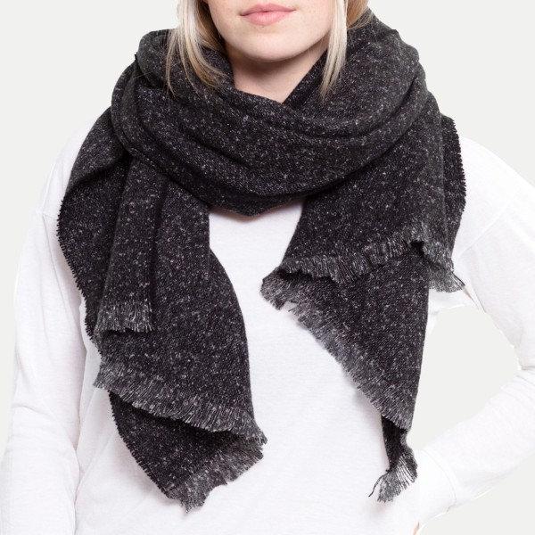 """Solid Color Waffle Knit Oblong Scarf.  - Approximately 27"""" W x 72"""" L - 100% Polyester"""