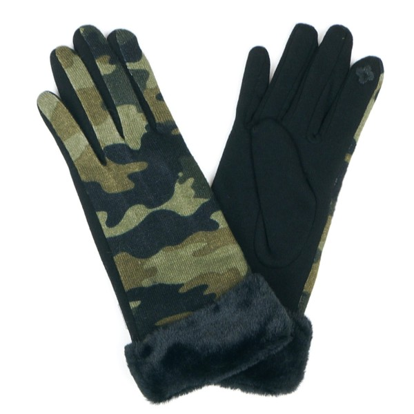 Camouflage Smart Touch Gloves Featuring Faux Fur Cuff.  - Smart Touch Finger Use - One size fits most - 100% Polyester