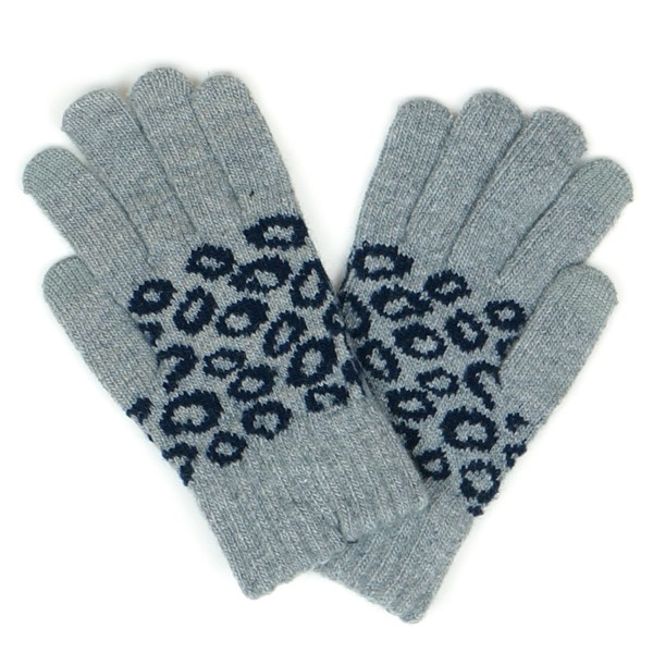 Leopard Print Knit Smart Touch Gloves.  - Touchscreen Compatible - One size fits most - 50% Acrylic / 40% Wool / 10% Spandex