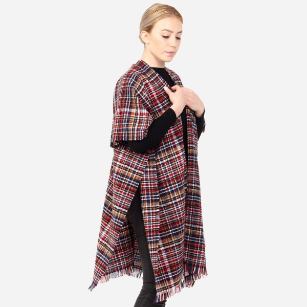 "Women's Soft Small Plaid Print Kimono with Frayed Trim.  - One size fits most 0-14 - Approximately 37"" L - 100% Acrylic"