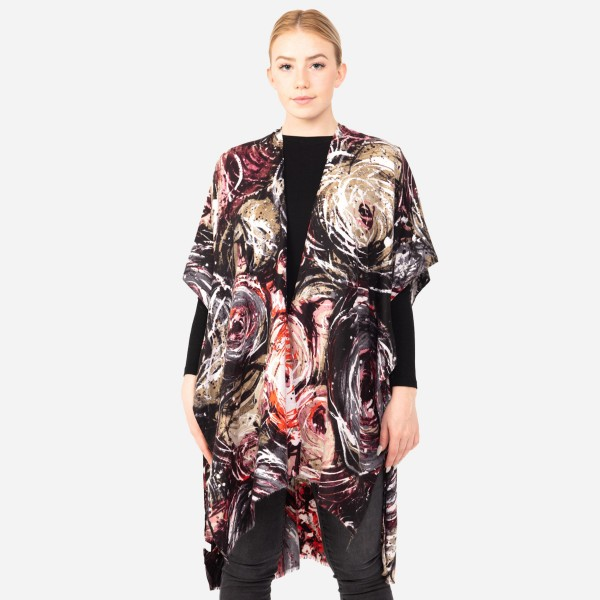 """Women's Multicolor Swirled Print Kimono.  - One size fits most 0-14 - Approximately 37"""" L  - 100% Polyester"""