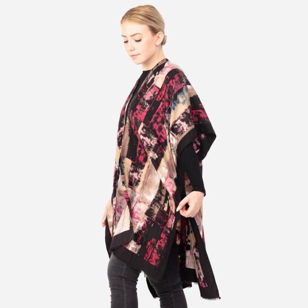 """Women's Tie-Dye Color-Block Print Kimono.  - One size fits most 0-14 - Approximately 35"""" L  - 100% Polyester"""