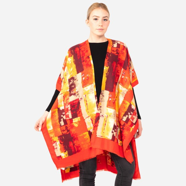 "Women's Tie-Dye Color-Block Print Kimono.  - One size fits most 0-14 - Approximately 35"" L  - 100% Polyester"