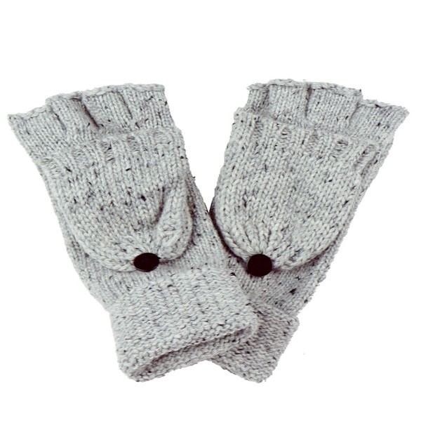 Two Tone Heather Knit Pop Top Mitten Gloves.  - One size fits most - 100% Acrylic
