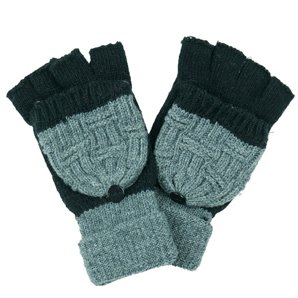 Two Tone Knit Pop Top Mitten Gloves.  - One size fits most  - 100% Acrylic