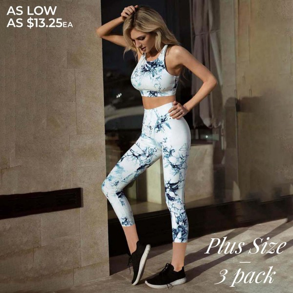 """Women's Active Tie-Dye Workout Leggings. (3 PACK)* (XL ONLY)*   • Elasticized pocket waistband • Unique tie-dye print design • 4-way stretch for a move-with-you feel • Super soft brushed knit fabrication • Moisture wicking fabric • Cotton Gusset Lining • Fits like a glove • Squat Proof • Great for all low-high impact workouts • Imported  - Pack Breakdown: 3 Pair Per Pack - Sizes: XL ONLY - Inseam approximately 26"""" L  - 75% Nylon / 25% Spandex"""