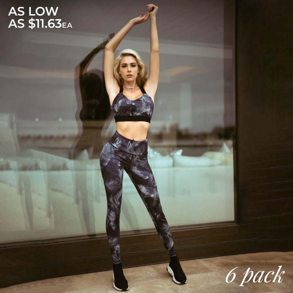 "Women's Active High Rise Feather Print Workout Leggings.  • High rise pocket waistband to hold keys, phone, cash • FEATHER design • 4-way stretch for more movement • Fits like a glove • Full length design • Moisture wick fabric • Squat Proof • Flat lock stitched seams prevent chafing • Triangular Cotton Gusset Lining • Pull up styling • Imported  - Pack Breakdown: 6 Pair Per Pack - Sizes: 2-S / 2-M / 2-L  - Inseam approximately 27"" L  - 46% Polyester / 41% Nylon / 13% Spandex"