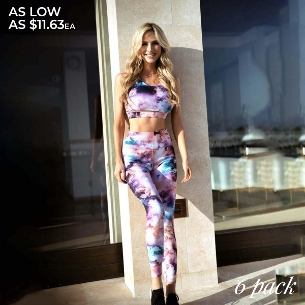 "Women's Active Watercolor Workout Leggings.  • High rise pocket waistband to hold keys, phone, cash • 4-way stretch for more movement • Fits like a glove • Full length design • Moisture wick fabric • Squat Proof • Flat lock stitched seams prevent chafing • Triangular Cotton Gusset Lining • Pull up styling • Imported  - Pack Breakdown: 6 Pair Per Pack  - Sizes: 2-S / 2-M / 2-L  - Inseam approximately 27"" L  -  46% Polyester / 41% Nylon / 13% Spandex"
