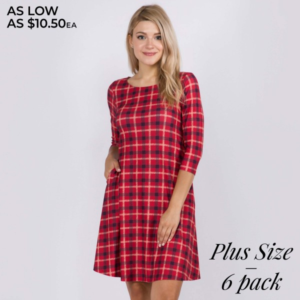 "Women's Plus Size Plaid Print Fall Dress Featuring 3/4 Sleeves & Pockets.  • 3/4 length sleeves • Crew neck • Two side seam pockets to keep your hands warm • A-line silhouette • Printed • Soft and comfortable fabric with stretch • Perfect for styling with heels or booties • Imported  - Pack Breakdown: 6 Dresses Per Pack - Sizes: 2-XL / 2-2XL / 2-3XL  - Approximately 34"" L  - 95% Polyester, 5% Spandex"