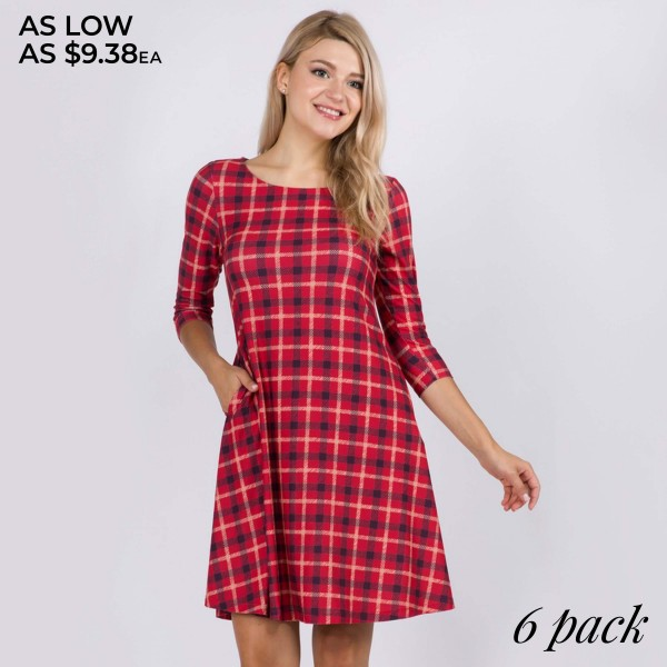 "Women's Plaid Print Fall Dress Featuring 3/4 Sleeves & Pockets.  • 3/4 length sleeves • Crew neck • Two side seam pockets to keep your hands warm • A-line silhouette • Printed • Soft and comfortable fabric with stretch • Perfect for styling with heels or booties • Imported  - Pack Breakdown: 6 Dress Per Pack - Sizes: 2-S / 2-M / 2-L  - Approximately 34"" L  - 95% Polyester / 5% Spandex"