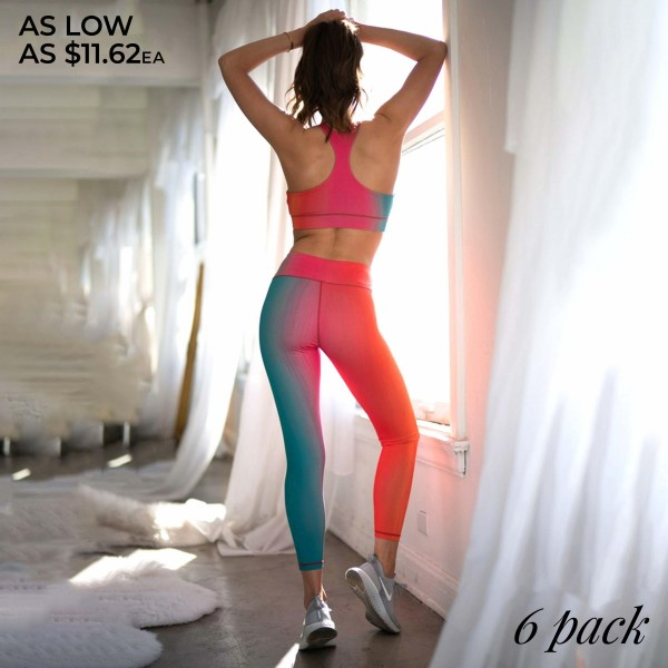 "Women's Active Ombre Workout Leggings.  • Elasticized high rise waistband sits flat against your skin • High rise elasticized waistband • Print throughout • Fits like a glove • Second skin fit and feel • 4 way stretch for more movement • Moisture wick fabric • Full length design • Squat Proof • Flat lock seams prevent chafing • Triangular Cotton Gusset Lining • Great for all low-high impact workouts • Imported  - Pack Breakdown: 6 Pair Per Pack - Sizes: 2-S / 2-M / 2-L  - Inseam approximately 26"" L  - 46% Polyester / 41% Nylon / 13% Spandex"
