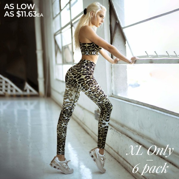 "Women's Active Feline Leopard Print Workout Leggings. (SIZE XL ONLY)  • High rise elasticized waistband • Hidden waist pocket for loose items • Leopard print • Flat lock seams prevent chafing • 4-way stretch fabric for a move-with-you feel • Triangle crotch cotton lined gusset prevents camel toe • Full length design • Pull on/off design • Stretchy, smooth, and lightweight   - Pack Breakdown: 3 Pack (3 Pair Per Pack) - Size: XL ONLY - Inseam Approximately 27"" L  - 46% Polyester / 41% Nylon / 13% Spandex"