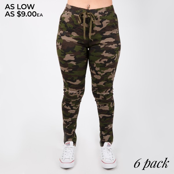 "Women's Classic Camouflage Skinny Drawstring Pants Featuring Distressed Details.  - 1.5"" Elastic Drawstring Waistband - Camouflage Print - Skinny Distressed Style  - 4 Functional Pockets - Pack Breakdown: 6pcs/pack - Sizes: 2-S / 2-M / 2-L  - Inseam approximately 27"" L  - 76% Cotton / 22% Polyester / 2% Spandex"