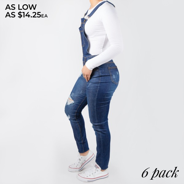 """Women's Classic Dark Blue Distressed Skinny Denim Overall's.   - Distressed Styling  - 6 Functional Pockets - Adjustable Straps - Full-Length  - Pack Breakdown: 6pcs/pack - Sizes: 2-S / 2-M / 2-L  - Inseam approximately 25"""" L  - 76% Cotton / 22% Polyester / 2% Spandex"""