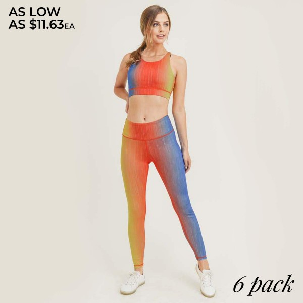 "Women's Active Ombre Workout Leggings.   • Unique tie-dye pattern • Elasticized high rise waistband sits flat against your skin • High rise elasticized waistband • Print throughout • Fits like a glove • Second skin fit and feel • 4 way stretch for more movement • Moisture wick fabric • Full length design • Squat Proof • Flat lock seams prevent chafing • Triangular Cotton Gusset Lining • Great for all low-high impact workouts • Imported  - Pack Breakdown: 6pcs/pack - Sizes: 2-S / 2-M / 2-L  - Inseam approximately 27"" L  - 46% Polyester / 41% Nylon / 13% Spandex"
