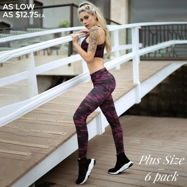 "Women's Plus Size Active Plum Camouflage Workout Leggings.  • Elasticized high rise waistband sits flat against your skin • Stylish zebra print all-over • High rise elasticized waistband • Print throughout • Fits like a glove • Second skin fit and feel • 4 way stretch for more movement • Moisture wick fabric • Full length design • Squat Proof • Flat lock seams prevent chafing • Triangular Cotton Gusset Lining • Great for all low-high impact workouts • Imported  - Pack Breakdown: 6pcs/pack - Sizes: 2-XL / 2-2XL / 2-3XL  - Inseam approximately 27"" L - 46% Polyester / 41% Nylon / 13% Spandex"