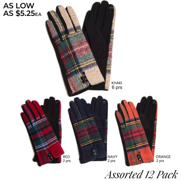 Assorted Plaid Print Smart Touch Gloves. (12 Pack)  - Touchscreen Compatible - 12 Pair Individually Wrapped Per Pack - 4 Assorted Colors - 6-Khaki / 2-Navy / 2-Red / 2-Orange - 70% Polyester / 30% Cotton