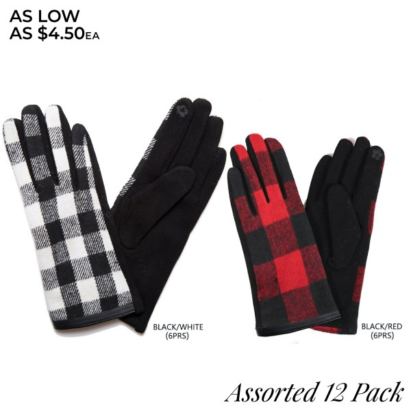 Assorted Buffalo Check Smart Touch Gloves. (12 Pack)  - Touchscreen Compatible - One size fits most - 12 Pair Individually Packed Per Pack - 2 Assorted Colors - 6-Black / 6-Red - 70% Polyester / 30% Cotton