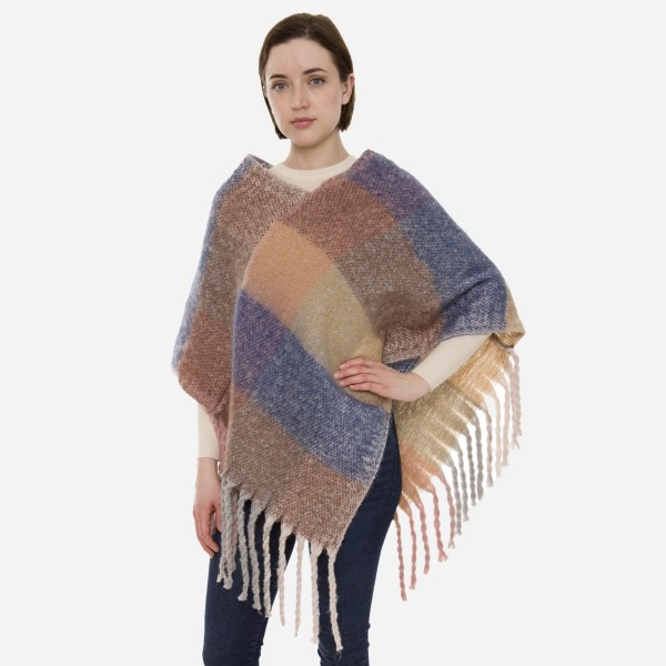 """Women's Soft Fuzzy Knit Colorblock Poncho Featuring Oversized Fringe Tassels.  - One size fits most 0-14 - Approximately 35"""" L - 100% Acrylic"""