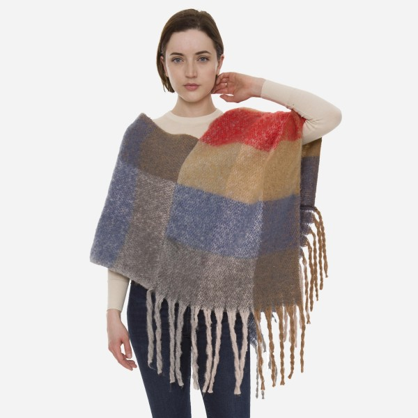 "Women's Soft Fuzzy Knit Colorblock Poncho Featuring Oversized Fringe Tassels.  - One size fits most 0-14 - Approximately 35"" L - 100% Acrylic"