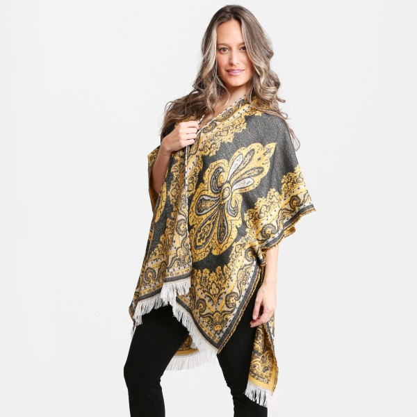 """Women's Floral Print Ruana with Fringe Tassels.  - One size fits most 0-14 - Approximately 33"""" L - 100% Acrylic"""