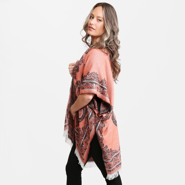 "Women's Floral Print Ruana with Fringe Tassels.  - One size fits most 0-14 - Approximately 33"" L - 100% Acrylic"