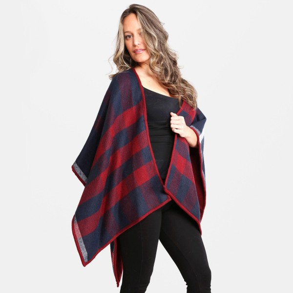 """Women's Plaid Ruana.  - One size fits most 0-14 - Approximately 35"""" L - 100% Acrylic"""