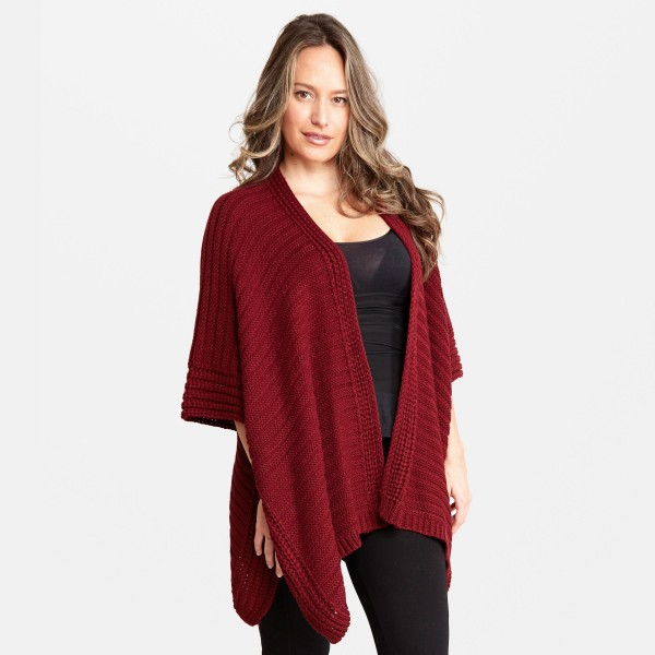 "Women's Fall/Winter Knit Kimono.  - One size fits most 0-14 - Approximately 33"" L - 100% Acrylic"