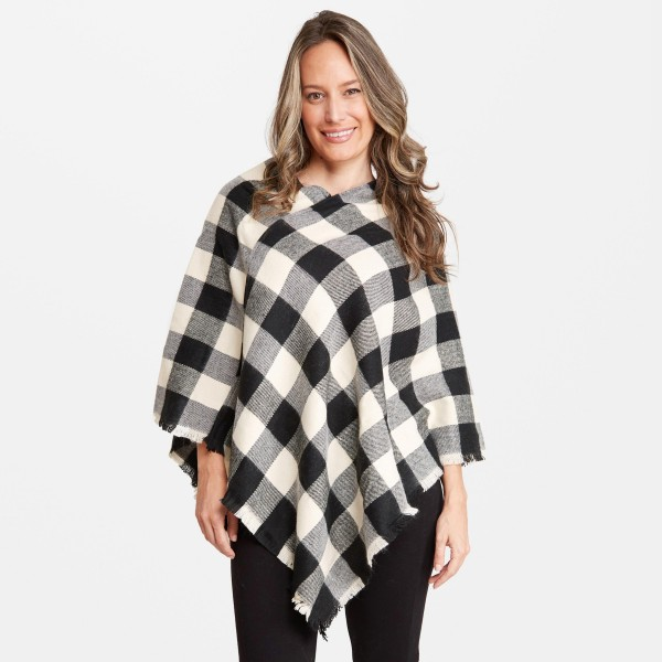 Wholesale women s Buffalo Check Knit Poncho One fits most L Acrylic