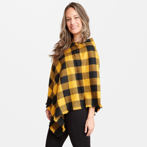 "Women's Buffalo Check Knit Poncho.  - One size fits most 0-14 - Approximately 33"" L  - 100% Acrylic"