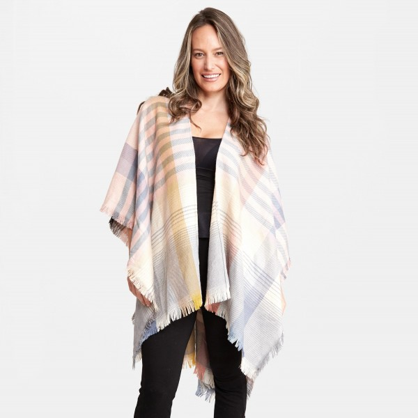 """Women's Enlarged Plaid Stripe Print Shawl Featuring Raw Trim.  - One size fits most 0-14 - Approximately 37"""" L  - 100% Acrylic"""