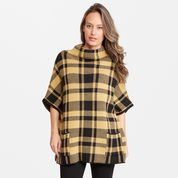 """Thick Plaid Knit Short Sleeve Poncho Featuring Cowl Neck & Front Pockets.  - Two Functional Front Pockets - One size fits most 0-14 - Approximately 30"""" L - 100% Acrylic"""
