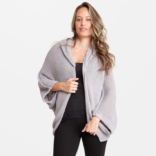 Wholesale women s Lightweight Dolman Sleeve Hooded Knit Cardigan Dolman Sleeve H
