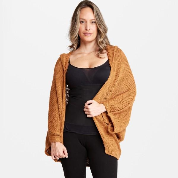 Women's Lightweight Dolman Sleeve Hooded Knit Cardigan.  - 3/4 Dolman Sleeve - Hood  - Lightweight  - One size fits most 0-14 - 100% Acrylic