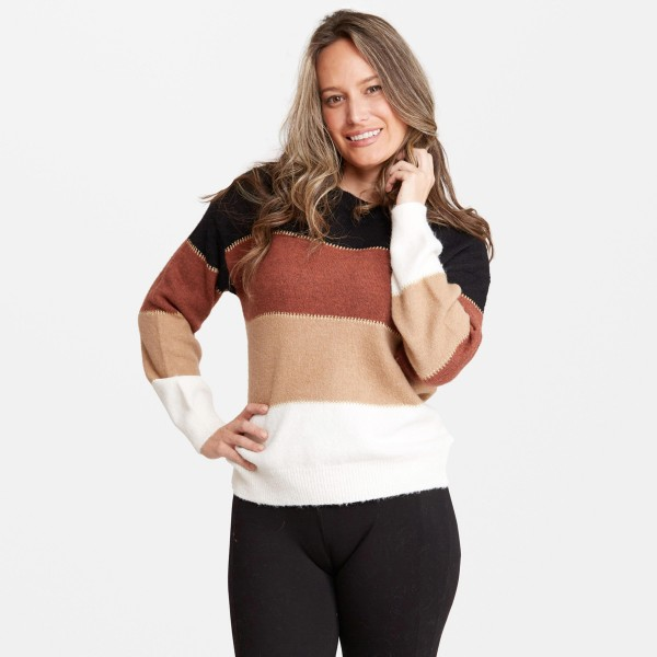 Women's Colorblock Knit Sweater.  - One size fits most 0-14 - 50% Acrylic / 25% Polyester / 20% Nylon / 5% Elastane