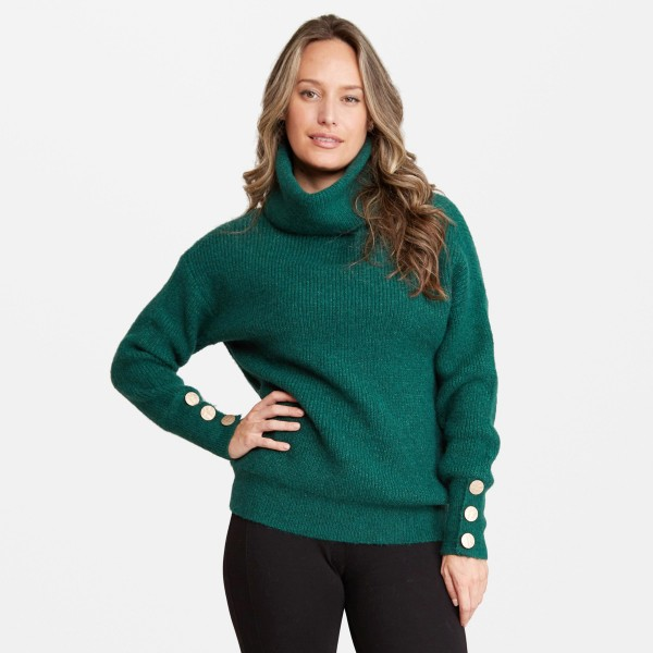 Women's Knit Turtleneck Sweater Featuring Hammered Gold Button Sleeve Details.  - One size fits most 0-14 - 50% Acrylic / 25% Polyester / 20% Nylon / 5% Elastane