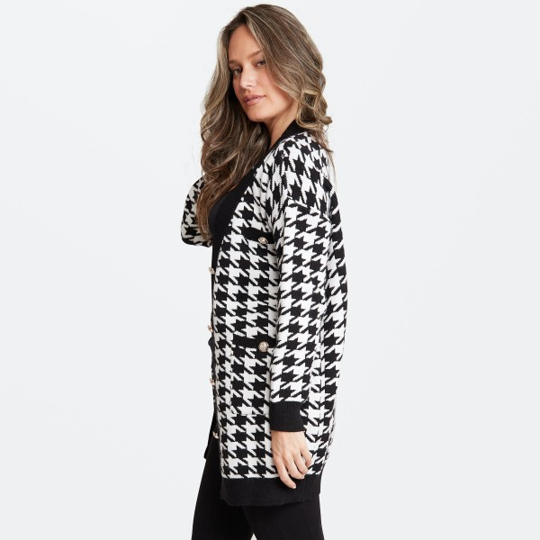 "Women's Houndstooth Knit Cardigan Featuring Front Pockets with Button Details.  - One size fits most 0-14 - Approximately 37"" L - 60% Viscose / 30% Polyamide / 10% Elastane"