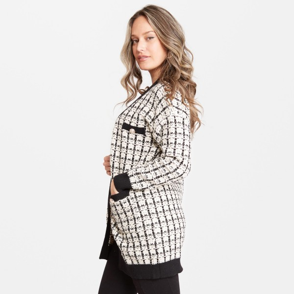 "Women's Tweed Knit Cardigan Featuring Front Pockets.  - One size fits most 0-14 - Approximately 37"" L - 60% Viscose / 30% Polyamide / 10% Elastane"