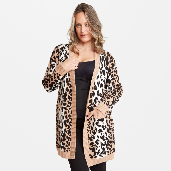"""Women's Leopard Print Cardigan Featuring Front Pockets.  - One size fits most 0-14 - Approximately 37"""" L - 60% Viscose / 30% Polyamide / 10% Elastane"""
