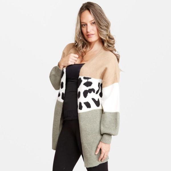 "Women's Colorblock Animal Print Cardigan.  - One size fits most 0-14 - Approximately 37"" L - 50% Acrylic / 25% Polyester / 20% Nylon / 5% Elastane"