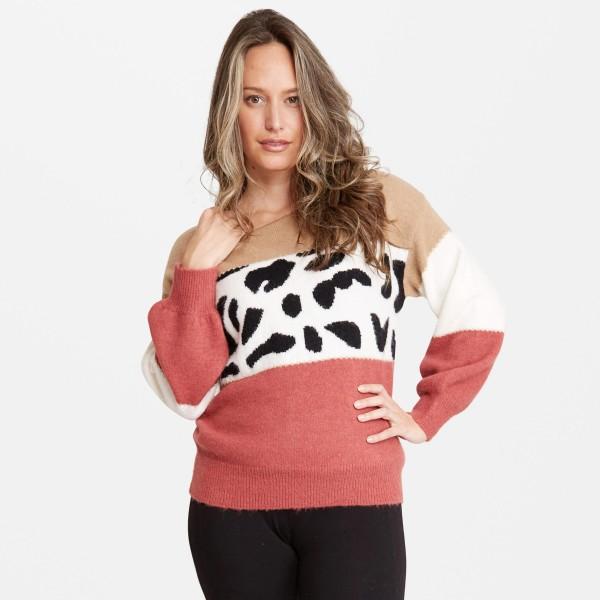 Women's Colorblock Animal Print Sweater.  - One size fits most 0-14 - 50% Acrylic / 25% Polyester / 20% Nylon / 5% Elastane