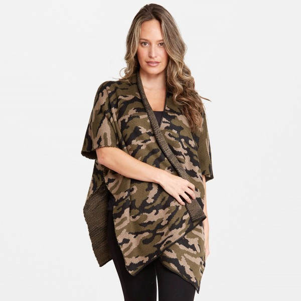 "Women's Camouflage Knit Kimono.  - One size fits most 0-14 - Approximately 35"" L - 100% Acrylic"