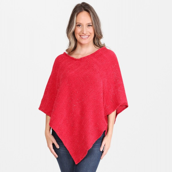 "Women's Metallic String Knit Poncho.  - One size fits most 0-14 - Approximately 30"" Long - 100% Acrylic"