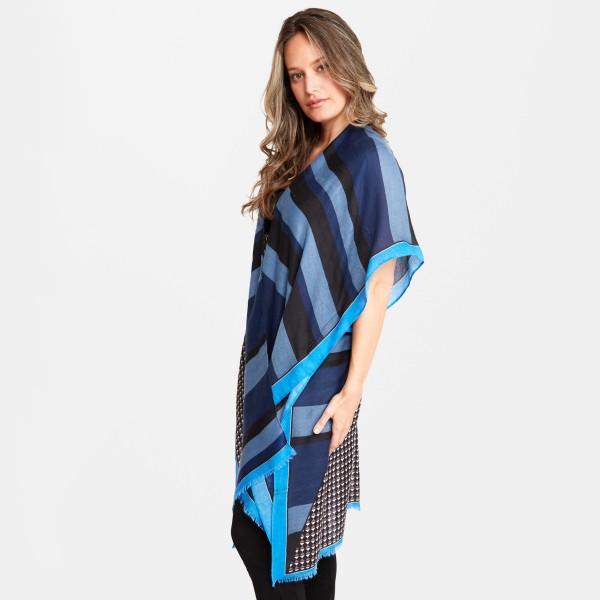 "Women's Geometric Stripe Print Kimono.  - One size fits most 0-14 - Approximately 37"" L  - 100% Viscose"