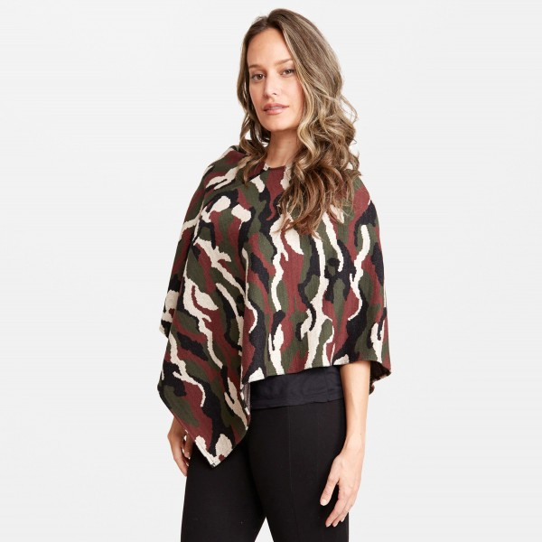 "Lightweight Camouflage Knit Poncho.  - One size fits most 0-14 - Approximately 35"" L - 100% Acrylic"
